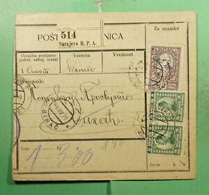 DR WHO 1921 YUGOSLAVIA SARAJEVO MONEY ORDER RECEIPT g12587