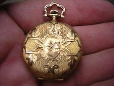 ANTIQUE 14K SOLID GOLD ORNATE WALTHAM HUNTER CASE POCKET WATCH MINTY CASE SIZE 0