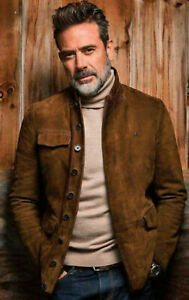 The Walking Dead Negan Jeffrey Dean Morgan Golden Brown Suede Jacket