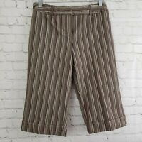 Cato Womens Capri Pants Size 10 Brown Striped Flat Front Belt Loops Cropped