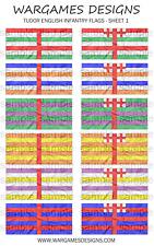 Bandiere 10 mm-FANTERIA INGLESE TUDOR-FOGLIO 1-LUCCIO & SHOTTE, Barocco, DBR
