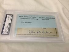 "Frank ""Homerun"" Baker Autographed Signed HOF 3x5 Index Card PSA/DNA"