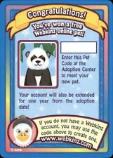 Webkinz PANDA SERIES 1 PET CODE Trading Cards Series One Adoption Code UNUSED