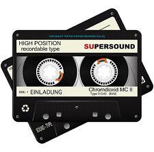 Metalliceffekt Einladungskarten zum Geburtstag als Kassette – 80er-Stil – Retro