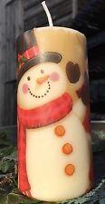 Natale Pupazzi di neve design decorato a mano pilastro candela 13x6cm