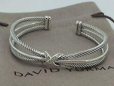 David Yurman Sterling Silver X Crossover Cable Cuff Bangle Bracelet W/ Diamonds