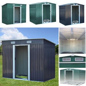 Metal Garden Shed Storage 2 Door Pent Apex Roof W/ Free Base Foundation Outdoor