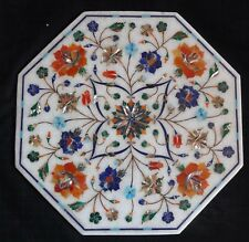 "14"" Marble end Table Top lapis Inlay semi precious stones home decor"