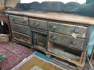 Large Pine Orginal Early Victorian Dresser / Side table