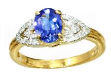 0.90 Ctw Diamante y Tanzanita Hecho en 10 quilates anillo oro amarillo