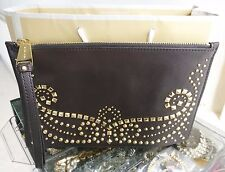 BNWT Michael Kors Rhea Large Chocolate Leather Studded Gold Clutch Bag