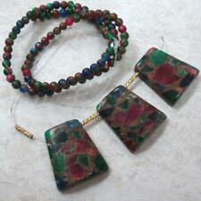 Green/Berry/navy, Mosaic Agate Round Beads, 4mm + 3 Pendants