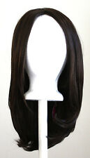 17'' Long Straight No Bangs Chocolate Brown Cosplay Wig NEW
