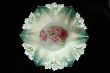 STUNNING STAR SHAPE RS PRUSSIA FLORAL BOWL SIGNED UNKNOWN MOLD PORCELAIN