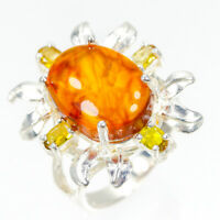 Fine Art Handmade Natural Amber 925 Sterling Silver Ring Size 7.75/R90549