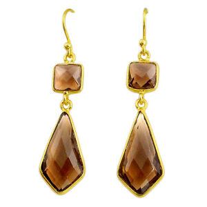 12.12cts Brown Smoky Topaz 925 Sterling Silver 14k Gold Dangle Earrings T14646