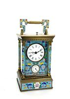 French Style Floral Turquoise Enamel Brass Case 8 Day Repeater Carriage Clock