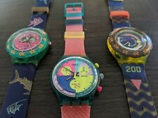 """SCUBA AND CHRONO SWATCH Vintage SET """"HAPPY FISH, FLASH ARROW"""", MORE NEW IN BOX !"""