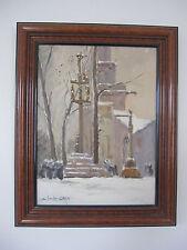 Charles Cuzin 1907/1975 Eglise animée sous la neige Savoie Chambéry H/c 35,5x27