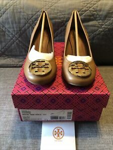NEW Tory Burch Sally Leather Wedge Heels Size 9.5 Royal Tan