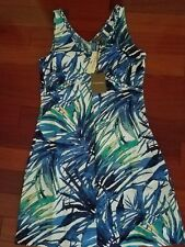 Tommy Bahama Lacovia Leaves Palace Blue Linen Dress ~ Size 2 ~ New w/ Tag ~ $138