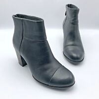 Clarks Enfield Tess Women Black Leather Zip Ankle Boot Shoe Size 6.5M Pre Owned