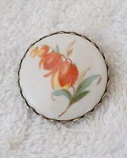 CLASSIC PIN CAMEO BROOCH ROSE FLOWER PETALS LEAF FLORAL DESIGN ORANGE CIRC DS-4