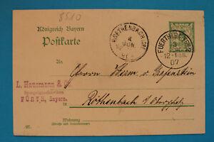 Ganzsache Königreich Bayern AK Fürth 1907 Spiegelglas Fabriken Hausmann & Co. ++
