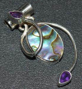 Mermaids Dream Abalone, Amethyst 925 Sterling Silver Pendant Jewelry JB17088