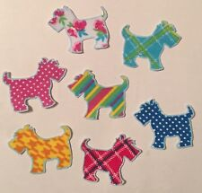 7 Little doggies, Terriers, Scotties - Iron On Fabric Appliques, Dogs, Pups