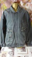 Vintage SITENANTE mens grey lined zip jacket coat /pockets size XL di