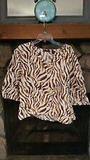 Women's Blouse Size XL Tan Brown Beige Tiger Striped Beaded Neckline Very Nice