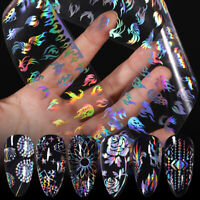 Holographics Nail Foils Transfer Stickers Fire Flower Nail Art Decals Decoration