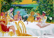 "LeRoy Neiman ""Wine Alfresco"" HAND SIGNED Offset Lithograph ART Print Poster"