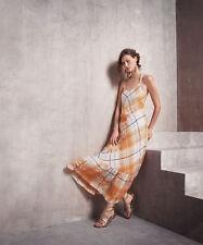 NEW ANTHROPOLOGIE Plaid Maxi Dress Holding Horses Mango Gold Size M $158 Boho