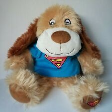 """Rare Superman Brown 16"""" Puppy Dog Cape Shirt Embroidered Paw Pacific Plush DC"""