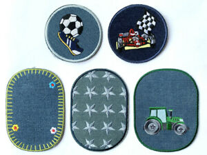 KIDS BOY GIRL JEANS KNEE HOLE EMBROIDERED  FABRIC IRON ON APPLIQUE PATCH BADG *E