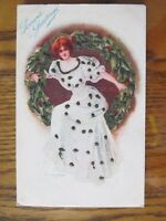 Vintage Postcard Victorian Woman Season's Greetings Glitter Christmas