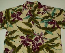 Hilo Hattie Hawaiian Shirt Men L Button Front  Honolulu Purple Flower Hawaii