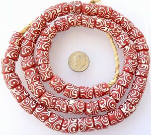 Amazing Matched Coral Pink & White Zen Recycled African glass trade beads-Ghana