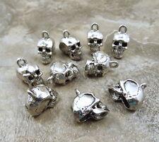 Ten (10) Pewter Skull Charms- 5195