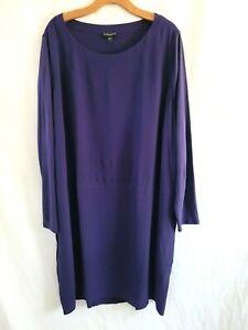 Womens Plus Size Eileen Fisher Ballet Scoop Neck  Silk Jersey Tunic Dress 3X