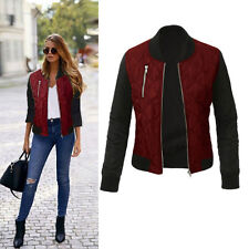 Retro Womens Slim Zipper Padded Short Quilted Jacket Bomber Biker Coats Outwear