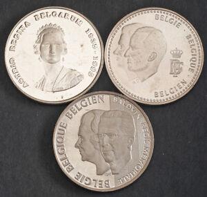 1995/1996/1998/1999, Belgium.Large Proof & UNC Silver 250 Francs Coins. 5pcs!