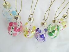 6 Hand Painted Glass Easter Egg Decorations For Easter Tree. Flowers Floral Hunt