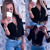 Women Sexy Cold Shoulder Zipper Shirt Tops Ladies V-Neck Blouse T-Shirt Casual