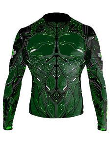 Raven Fightwear Men's Cybernetic Rash Guard MMA BJJ Green