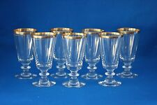 VINTAGE TIFFIN AUREOLA  CORDIAL/SHERRY  GLASSES WITH GOLD RIM LOT OF 7