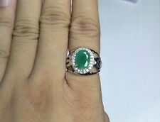 925 Sterling Silver Fine Natural Gemstone Emerald & Cz Men Ring Jewelry India
