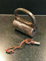Vintage Spiral Screw Circular Indian Steel Padlock With Key Working Engraved